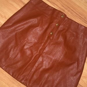 """""""Vintage"""" Leather Skirt with Buttons— High Waisted"""